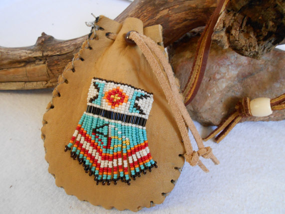 Custom Order Medicine Bag, Traditional Handmade, Hand Beaded Four Directions and Medicine Wheel Design by Lakota Artist, Mountain Man