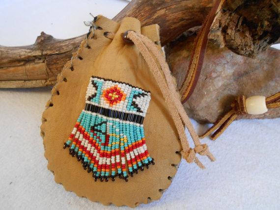 Custom Order Medicine Bag, Traditional Handmade, Hand Beaded Four Directions and Medicine Wheel Design by Lakota Artist, Mountain Man