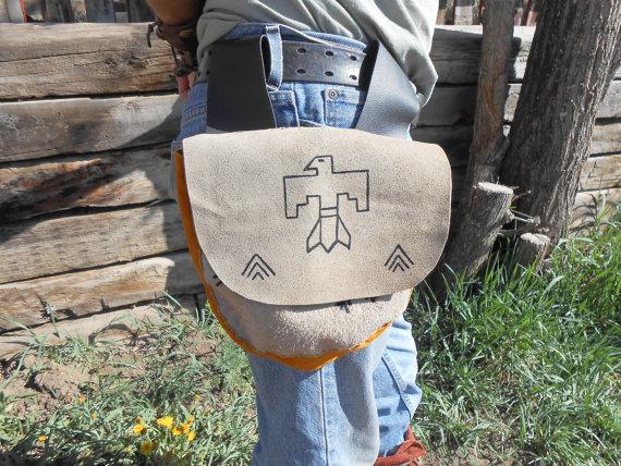 Leather Belt Bag, Handmade, Native American, Handsewn by Lakota Artist, Thunderbird, Mountain Man, Redezvous, Powwow, Festival, Southwestern