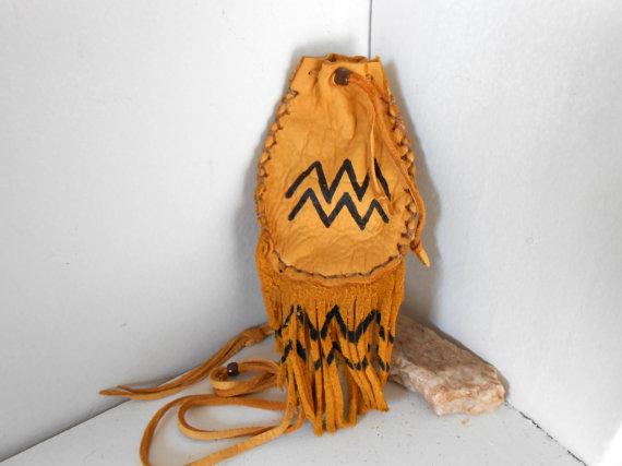 Medicine Pouch, Medine Bag With Fringe, Handmade by Lakota Artist, Native American, Hippie, Boho, Tribal, Mountain Man, Powwow, OOAK