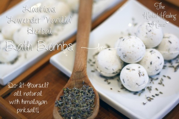 Luxurious 'Lavender Vanilla' Herbal Bath Bombs - DIY All Natural
